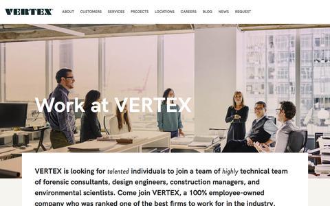 Screenshot of Jobs Page vertexeng.com - The Vertex Companies, Inc  |  Work at VERTEX - captured July 29, 2017