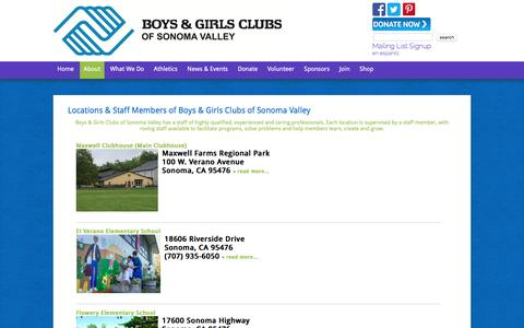 Screenshot of Locations Page bgcsonoma.org - Boys and Girls Club Locations & Maps - captured Feb. 8, 2016