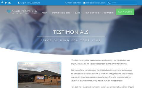 Screenshot of Testimonials Page club-insure.co.uk - Testimonials   Sports & Social Club Insurance   Club Insure - captured Dec. 15, 2018