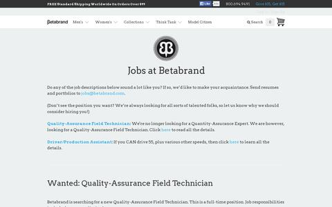 Screenshot of Jobs Page betabrand.com - Jobs at Betabrand - captured July 20, 2014