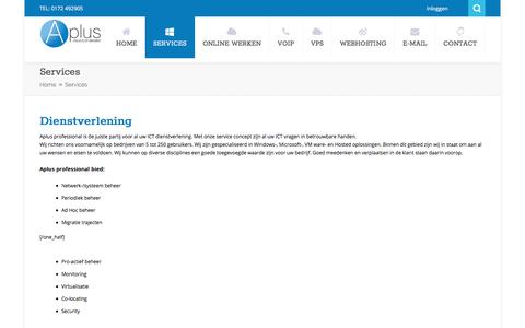 Screenshot of Services Page aplusprofessional.nl - Services - Aplus Cloud en ICT Services - captured July 30, 2018