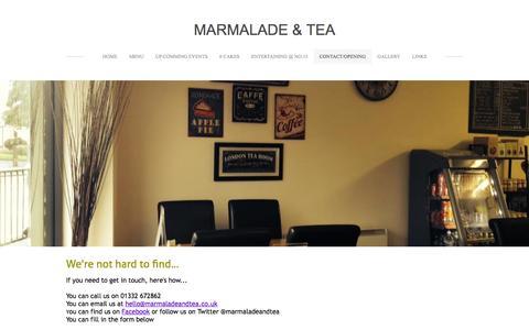 Screenshot of Contact Page weebly.com - Contact/opening - Marmalade & Tea - captured Oct. 27, 2014