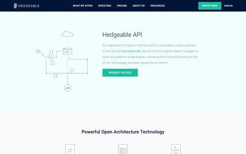 Screenshot of Developers Page hedgeable.com - Hedgeable API - captured July 12, 2017