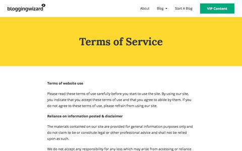 Screenshot of Terms Page bloggingwizard.com - Terms of Service   Blogging Wizard - captured Jan. 20, 2020