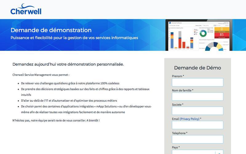 Demande de demonstration | Cherwell Service Management