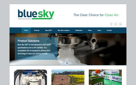 Screenshot of Menu Page blueskydefna.com - Blue Sky Diesel Exhaust Fluid   The Clear Choice for Clean Air - captured Nov. 3, 2014
