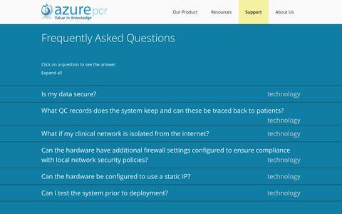 Screenshot of FAQ Page azurepcr.com - Frequently Asked Questions  | Azure PCR - captured Sept. 30, 2014