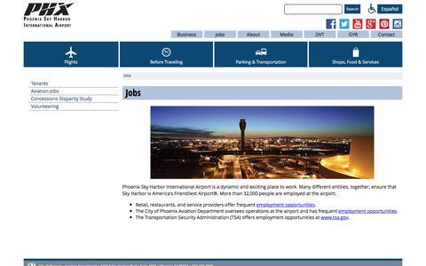 Screenshot of Jobs Page skyharbor.com - Jobs - captured Jan. 28, 2016