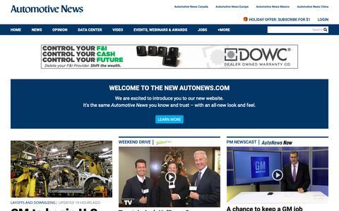 Screenshot of Home Page autonews.com - Home | Automotive News - captured Dec. 15, 2018