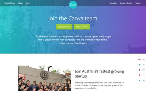 Screenshot of Jobs Page canva.com - Join the Canva team - About Canva - captured Feb. 26, 2016