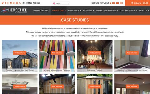Screenshot of Case Studies Page herschel-infrared.com - Case studies of the use of Herschel Far Infrared Heaters - captured Dec. 30, 2016