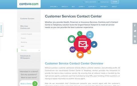 Screenshot of Services Page contivio.com - Customer Services Contact Center - captured Nov. 2, 2014