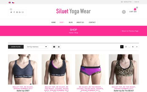 Screenshot of Products Page siluetyogawear.com - Products | Siluet Yoga Wear - captured March 10, 2017