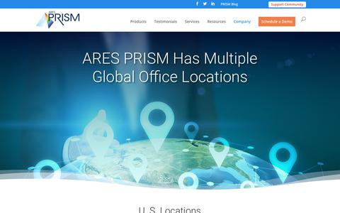 Screenshot of Locations Page aresprism.com - Locations | ARES PRISM - captured April 25, 2019