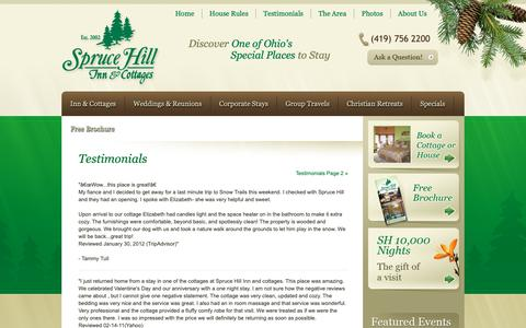 Screenshot of Testimonials Page sprucehillinn.com - Testimonials - Spruce Hill Inn - captured Oct. 18, 2018