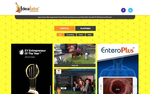 Screenshot of Home Page idealabsinteractive.com - Idealabs Interactive - Apps, Games, Web, Augmented & Virtual Reality - captured Aug. 27, 2018