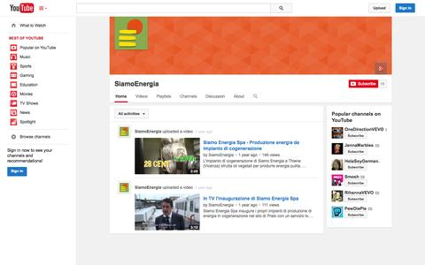 Screenshot of YouTube Page youtube.com - SiamoEnergia  - YouTube - captured Oct. 26, 2014