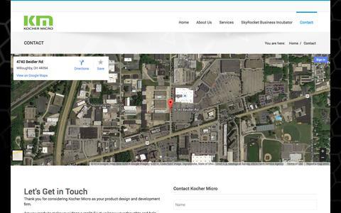 Screenshot of Contact Page kochermicro.com - Kocher Micro | Contact Kocher Micro Today - captured Sept. 30, 2014
