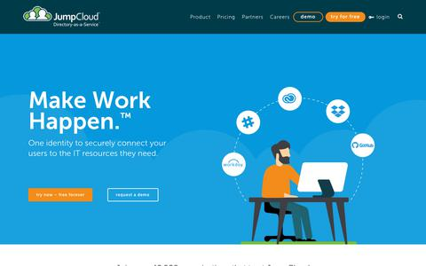 Screenshot of Home Page jumpcloud.com - Active Directory & LDAP in the Cloud. Cloud Directory Services. - JumpCloud - captured Sept. 13, 2018