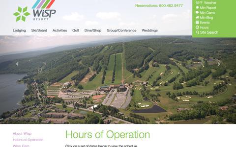 Screenshot of Hours Page wispresort.com - About Wisp Resort   wispresort.com - captured June 19, 2017