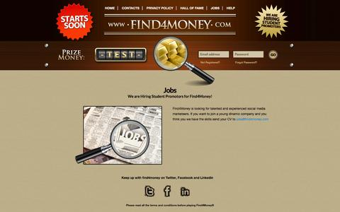 Screenshot of Jobs Page find4money.com - Find4Money::Contacts - captured Sept. 30, 2014