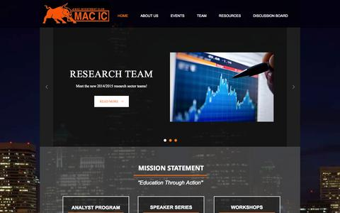 Screenshot of Home Page macic.ca - Mac investment club - captured Oct. 3, 2014