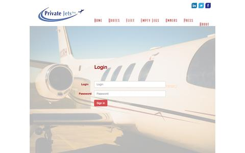 Screenshot of Login Page privatejetsinc.com - Private Jets Inc - captured Sept. 30, 2014