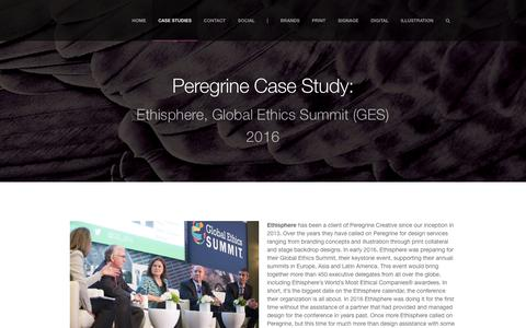 Screenshot of Case Studies Page peregrinecr.com - Ethisphere GES 2016 |         Peregrine Creative, LLC - captured Oct. 4, 2016