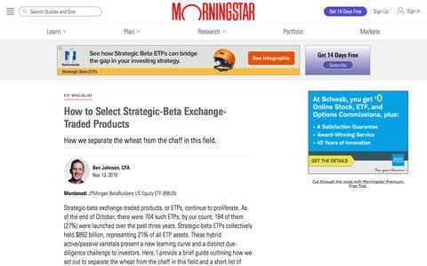 Screenshot of Blog morningstar.com - How to Select Strategic-Beta Exchange-Traded Products | Morningstar - captured Dec. 4, 2019