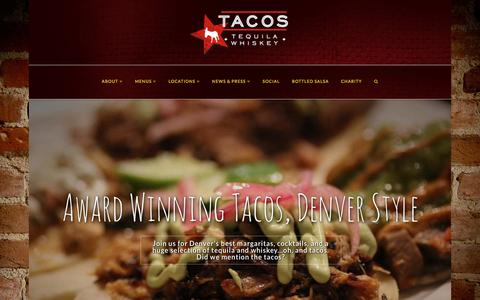 Screenshot of Home Page tacostequilawhiskey.com - Tacos Tequila Whiskey Denver - captured May 28, 2016