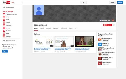 Screenshot of YouTube Page youtube.com - ecoprestocom  - YouTube - captured Oct. 22, 2014