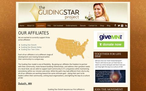 Screenshot of Locations Page theguidingstarproject.com - Our Affiliates | theguidingstarproject.com - captured Oct. 29, 2014