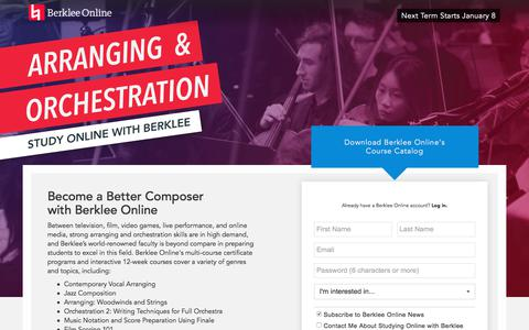 Screenshot of Landing Page berklee.edu - Study Arranging and Orchestration with Berklee Online - captured Oct. 23, 2017