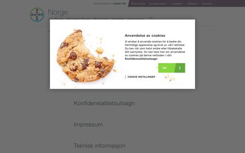 Screenshot of Site Map Page bayer.no - Sitemap - Bayer Norge - captured Dec. 18, 2018