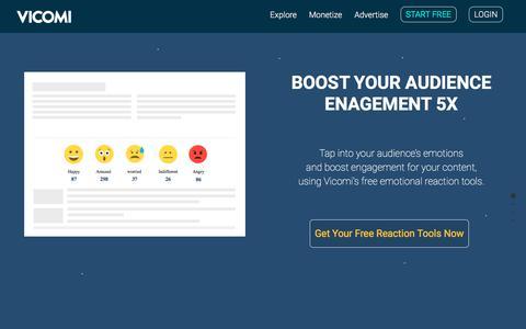 Screenshot of Home Page vicomi.com - Vicomi Reaction Tools: Increase Reader Engagement - captured Feb. 11, 2018