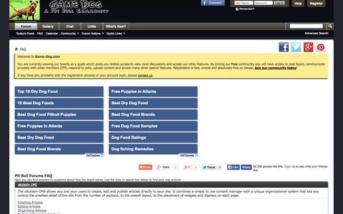 Screenshot of FAQ Page game-dog.com - Pit Bull Forums FAQ - captured Oct. 31, 2014