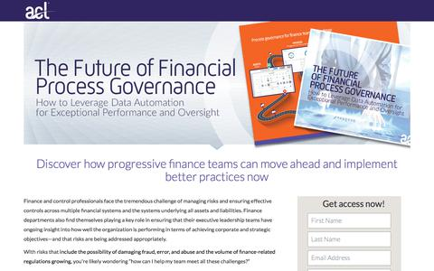Screenshot of Landing Page acl.com - Download The Future of Financial Process Governance - captured Sept. 19, 2018