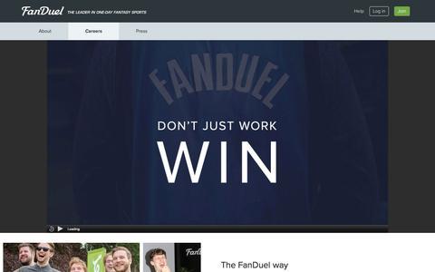 Screenshot of Jobs Page fanduel.com - Careers  | FanDuel - captured Oct. 21, 2015
