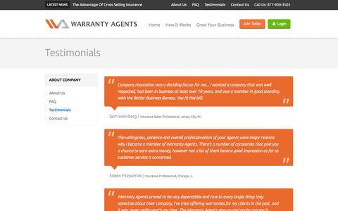 Screenshot of Testimonials Page warrantyagents.com - Warranty Agents - captured Oct. 8, 2014