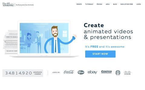 Screenshot of Home Page powtoon.com captured Dec. 7, 2016