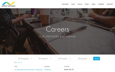 Screenshot of Jobs Page arthurventures.com - Careers Ń Arthur Ventures - captured Dec. 26, 2015