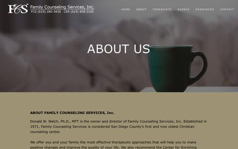 Screenshot of About Page fcssandiego.com - About Us — Family Counseling Services, Inc. - captured April 25, 2016