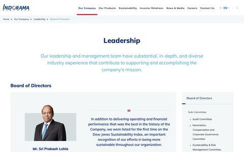 Screenshot of Team Page indoramaventures.com - Board of Directors   Indorama Ventures (IVL) - captured Nov. 13, 2018