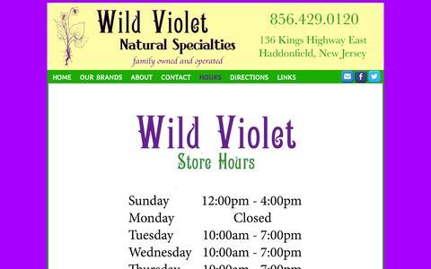 Screenshot of Hours Page wildvioletnaturalspecialties.com - Store hours for Wild Violet Natural Specialties - captured Oct. 7, 2014