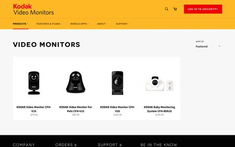 Screenshot of Products Page connectedfamilyhome.com - Video Monitors – KODAK Connected Family Home - captured Nov. 18, 2016