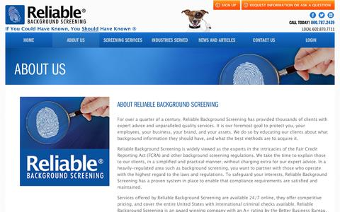 Screenshot of About Page reliablebackgroundscreening.com - Background Checks | Reliable Background Screening | Available Nationwide - captured Nov. 7, 2017