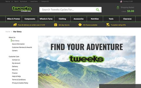 Screenshot of About Page tweekscycles.com - Our Story   Tweeks Cycles - captured Nov. 8, 2018