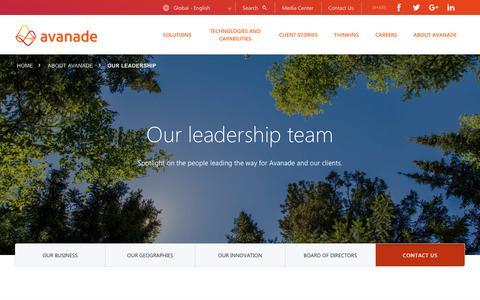 Screenshot of Team Page avanade.com - Executive Leadership & Board of Directors | Avanade - captured Feb. 5, 2019