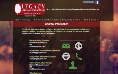 Screenshot of Contact Page legacylawn.com - Legacy Landscape Management   Contact Us - captured Nov. 5, 2016