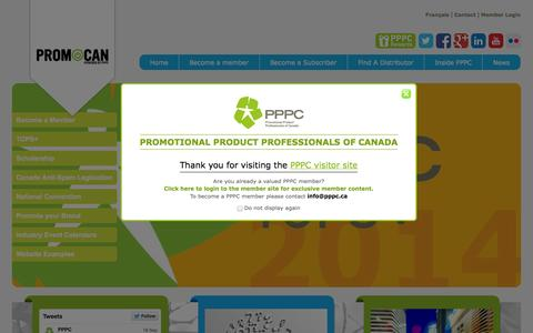 Screenshot of Home Page promocan.com - Promotional Products Industry in Canada Since 1956 – Promocan.com - captured Sept. 23, 2014